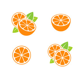 Orange fruit. Icon set. Cut oranges with leaves on white background