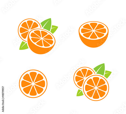Orange fruit  Icon set  Cut oranges with leaves on white