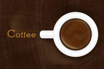 Cup of Espresso Top View. Coffee Background Design with Space for Text