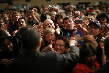 U.S. Democratic presidential candidate Senator Obama greets supporters during a campaign rally at the Omaha Civic Auditorium