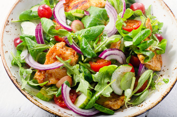 Fresh salad with chicken. Healthy food.