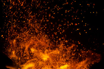 Printed roller blinds Fire / Flame fire flames with sparks on a black background