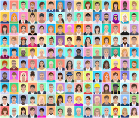 Portraits of different people, colored collage, vector illustration