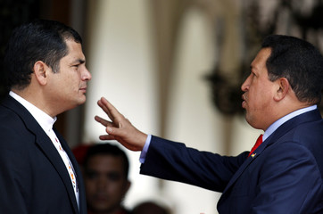 Venezuela's President Chavez welcomes his Ecuadoran counterpart Correa for an ALBA Summit in Caracas