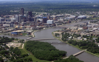 An aerial photograph of downtown Des Moines, Iowa