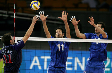 US faces Greece in friendly pre-Olympic warmup volleyball game.