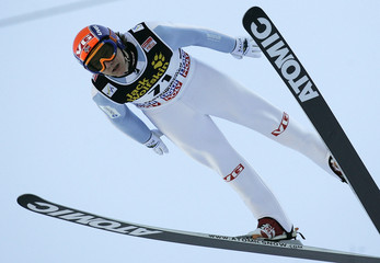 Norway's Hilde soars through the air during his qualification jump for the second event of the 4-hill ski jumping tournament in Garmisch-Partenkirchen