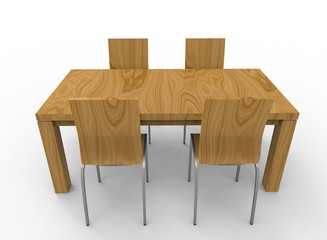 3d illustration of chairs with table. white background isolated. icon for game web.