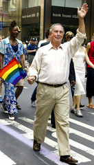 NEW YORK MAYOR MICHAEL BLOOMBERG MARCHES IN GAY PRIDE PARADE.