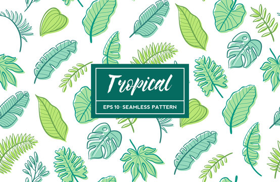 Hand drawn tropical seamless pattern with green leaves. Vector illustration.