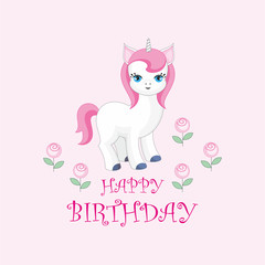 Happy birthday greeting card with the image of cute unicorn. Colorful vector illustration