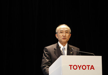Toyota Motor Corp. President Katsuaki Watanabe delivers a speech during an unveiling of the new Crown Majesta sedan in Tokyo