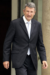 French Mouvement Pour la France Party (MPF) leader Philippe de Villiers leaves the Elysee Palace in Paris