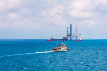 Offshore oil rig drilling platform in the gulf of Thailand.
