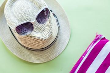 Summer holiday background, Beach accessories