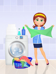 girl does the laundry