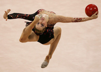 Sanders of the US performs individual routine in the rhythmic gymnastics at the Athens 2004 Olympic Games.