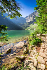 Wall Murals Mountains Beautiful mountains pond at sunrise, Poland, Europe