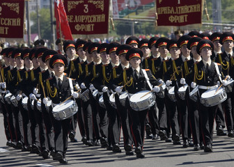 Belarussian cadets march during a celebration marking Independence Day in Minsk