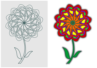 Flower for children's coloring book. Color and outline image. The objects are grouped by color. Easy to change colors