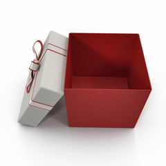 Red gift-box with ribbon bow on white. 3D illustration