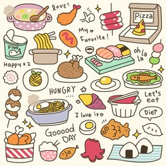 Set of Cute Meal and Dish Doodle