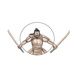 Samurai Warrior Wielding Two Swords Tattoo