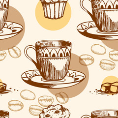 Seamless pattern with cake and coffee