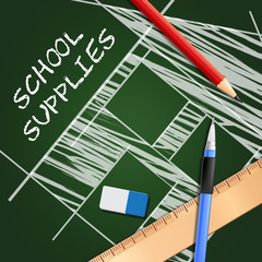 School Supplies Shows Stationery Materials 3d Illustration