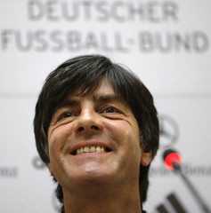 Germany's soccer team coach Loew addresses a news conference in Moscow