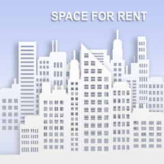 Space For Rent Represents Office Property 3d Illustration