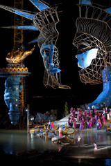 Singers perform on a giant floating stage on Lake Constance in Bregenz