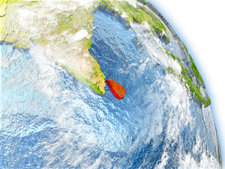 Sri Lanka on model of Earth