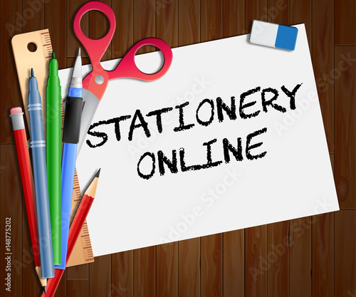 stationery online paper shows web supplies 3d illustration stock