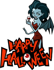 Halloween cartoon illustration of a vampire
