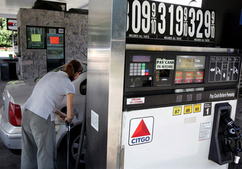 Motorist purchases fuel at Citgo gas station on the Palisades Parkway in Rockland County, New York.