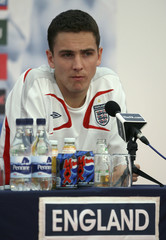 England's Downing talks to the media at their World Cup training camp near Baden-Baden