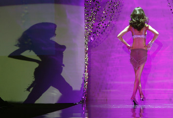 A model presents a creation during the Triumph presents Sense and Sensuality show during the Singapore Fashion Festival