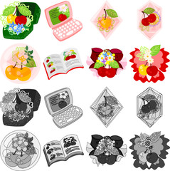 The cute icons of cherry objects such as crystal and jewel and box and PC and book and ribbon