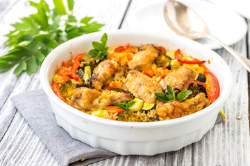 Traditional dish of rice,vegetable and meat-pilaf