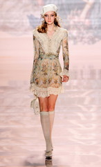 A model presents a creation as part of Blugirl's Fall/Winter 2006-2007 women's collection during Mil..