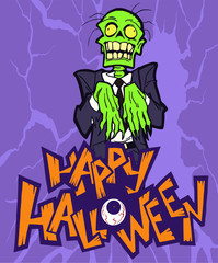Cartoon halloween illustration of a funny zombie mascot