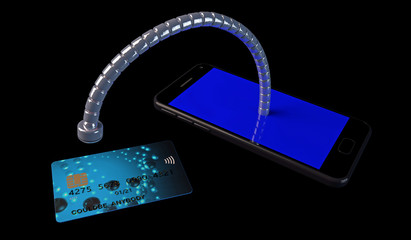 3D illustration of a robotic snake emerging from a mobile phone and copying information from a credit card. Concept for security and privacy violations; phone and payment card graphics are fictitious.