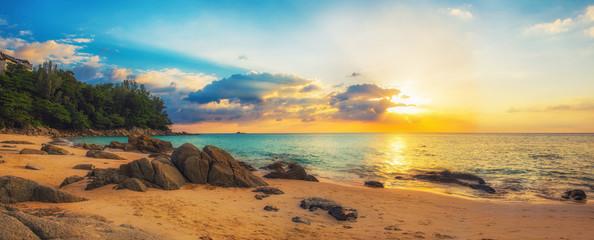 Panorama of Naithon sea beach at sunset