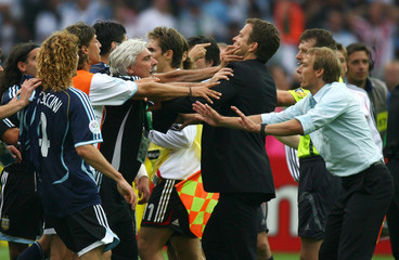 The Germany team and the Argentina team are involved in a confrontation in Berlin