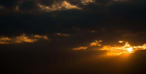 The dark cloud and sundown..