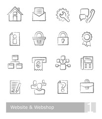 Vector icons set for website and webshop; charcoal drawings