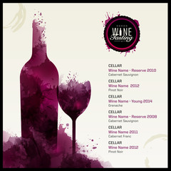 Template list or wine tasting. Illustration of wine glass and bottle. Background with wine stains.Idea for your design.