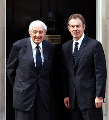 British Prime Minister Tony Blair (R) and former Labour Prime Minister Jim Callaghan pose for the me..