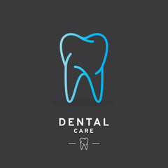 Tooth logo, Dental care icon. Vector illustration, line design